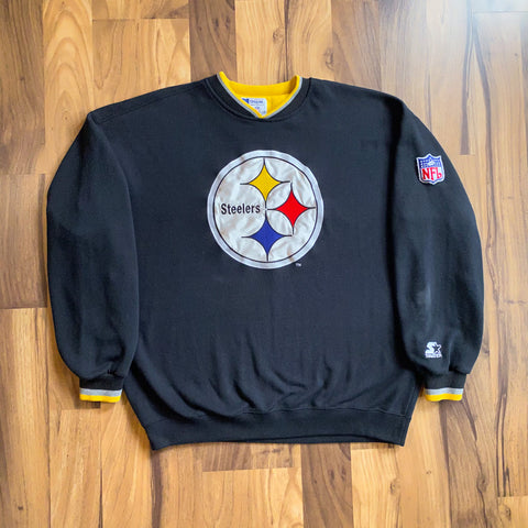 VINTAGE PITTSBURGH STEELERS NFL STARTER PRO LINE AUTHENTIC PATCH CREWNECK SWEATSHIRT