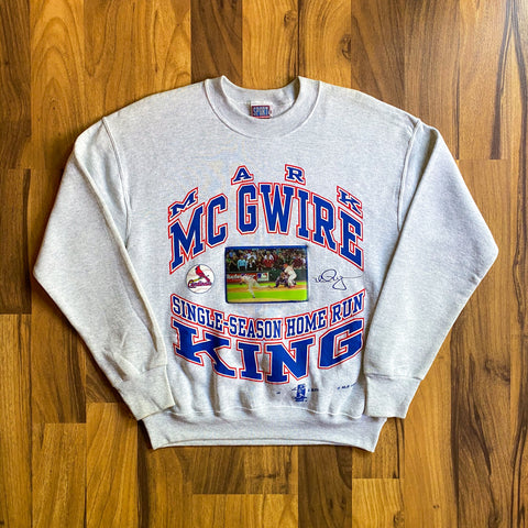 VINTAGE 1998 MARK MCGWIRE MLB SINGLE-SEASON HOME RUN KING LENTICULAR CREWNECK SWEATSHIRT