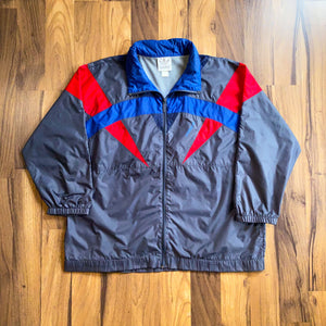 VINTAGE ADIDAS TRI-COLOR CONTRAST FULL-ZIP HOODED WINDBREAKER JACKET