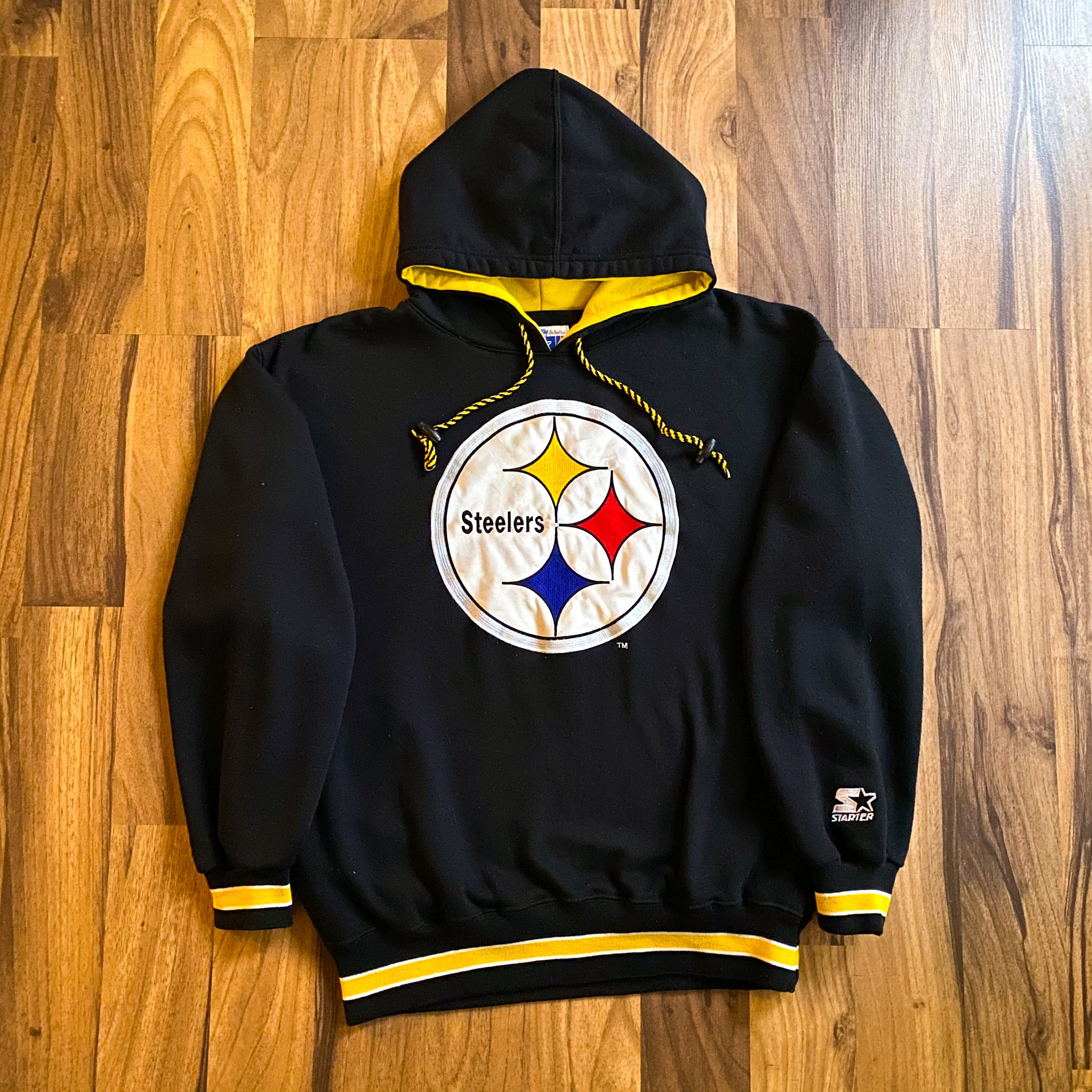 VINTAGE PITTSBURGH STEELERS STARTER NFL BIG PATCH HOODED SWEATSHIRT