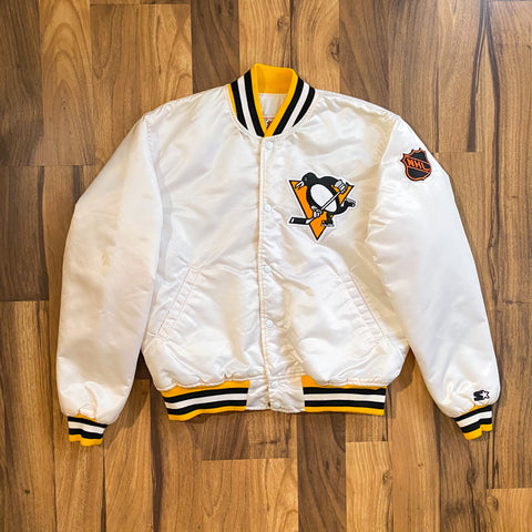 VINTAGE PITTSBURGH PENGUINS NHL WHITE PATCH SPELLOUT STARTER JACKET