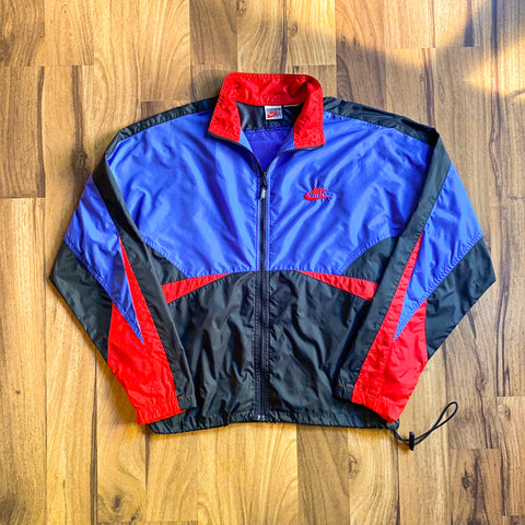 VINTAGE 90'S NIKE EMBROIDERED CONTRAST FULL-ZIP WINDBREAKER JACKET