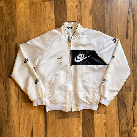 "VINTAGE NIKE BOOTLEG ""NEIL"" EMBROIDERED SILK FULL-ZIP DISTRESSED JACKET"