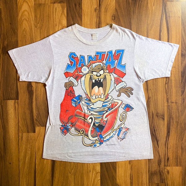 "VINTAGE 1994 TAZ ""SANTAZ"" LOONEY TUNES DISTRESSED GRAPHIC PRINTED T-SHIRT"