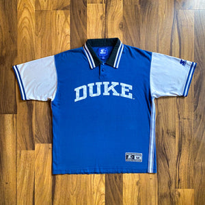 VINTAGE STARTER DUKE BLUE DEVILS BASKETBALL STRIPED POLO SHIRT