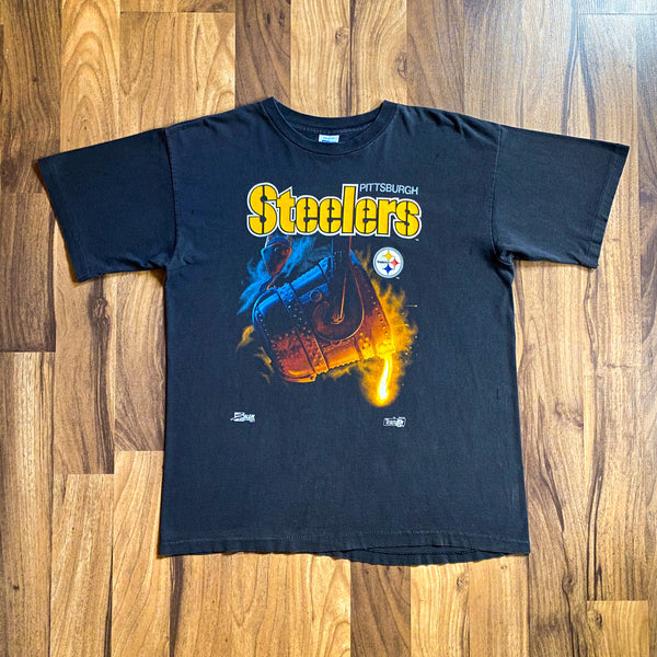 VINTAGE 1992 PITTSBURGH STEELERS SALEM SPORTSWEAR STEEL POUR PRINTED T-SHIRT