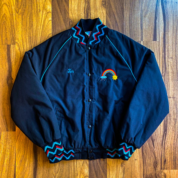 "VINTAGE AZTEC PRINT ""TIM"" EMBROIDERED CONTRAST WEST ARK BOMBER JACKET"