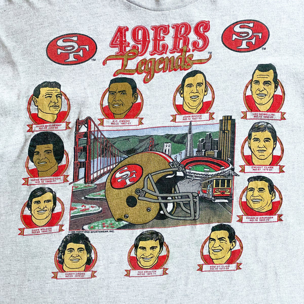 VINTAGE 1990 SAN FRANCISCO 49ERS LEGENDS NFL PLAYERS PRINTED T-SHIRT
