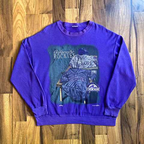 VINTAGE COLORADO ROCKIES MLB NUTMEG MILLS GRAPHIC PRINTED CREWNECK SWEATSHIRT
