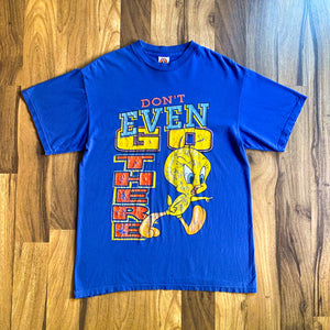 "VINTAGE 1997 TWEETY BIRD ""DON'T EVEN GO THERE"" LOONEY TUNES PRINTED T-SHIRT"