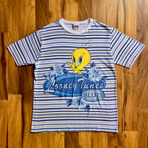 VINTAGE 1996 LOONEY TUNES BLUES TWEETY BIRD STRIPED GRAPHIC PRINTED T-SHIRT