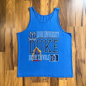 VINTAGE DUKE UNIVERSITY BLUE DEVILS BIG LOGO PRINTED TANK TOP