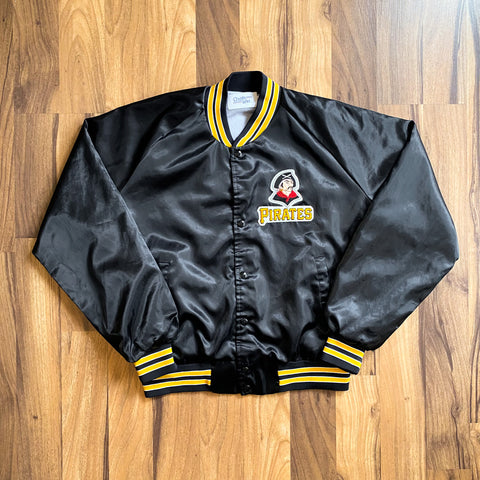 VINTAGE PITTSBURGH PIRATES MLB PATCH LOGO CHALK LINE BASEBALL JACKET