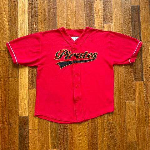 VINTAGE PITTSBURGH PIRATES MLB MIRAGE APPLIQUE SCRIPT BASEBALL JERSEY