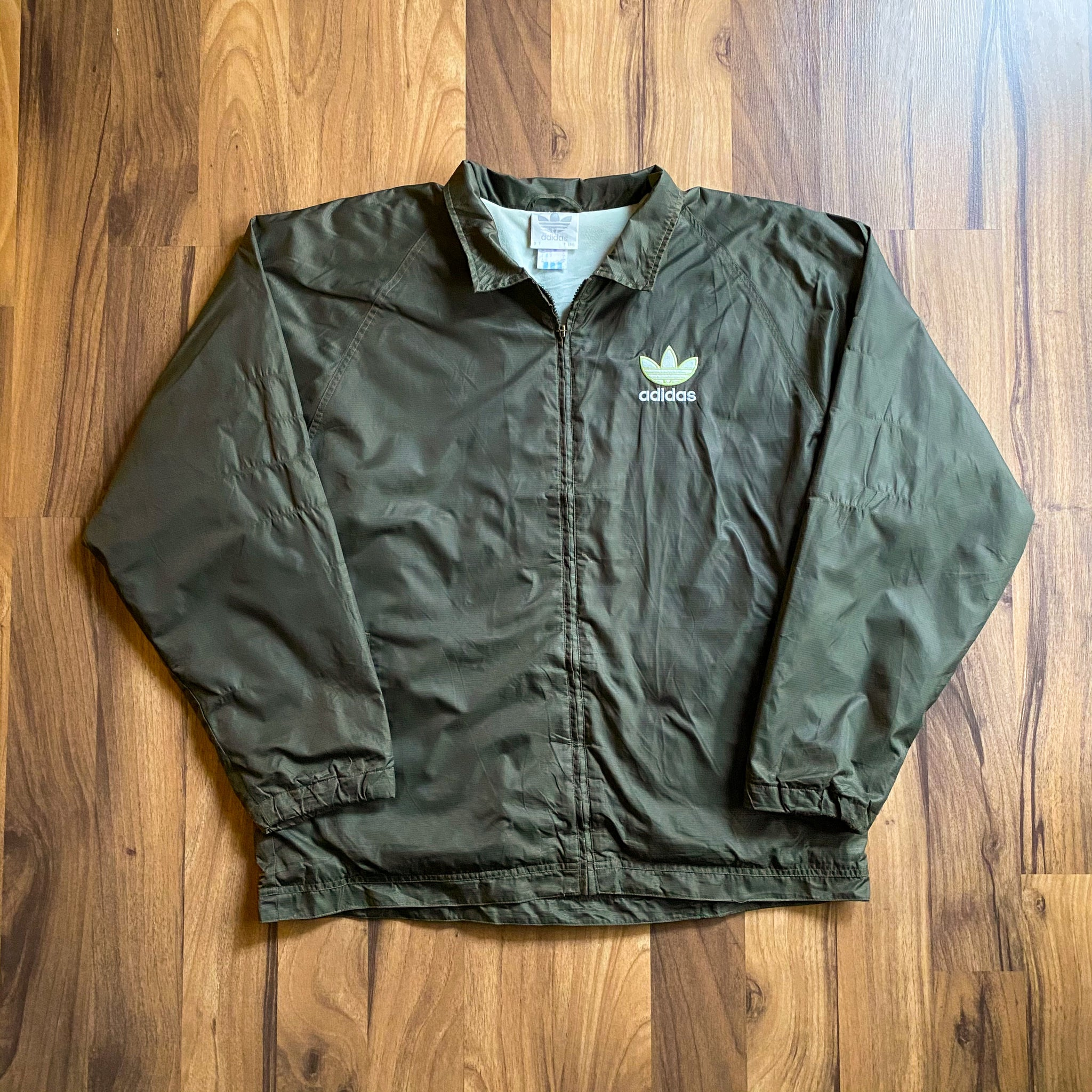 VINTAGE ADIDAS TREFOIL EMBROIDERED FULL-ZIP WINDBREAKER JACKET