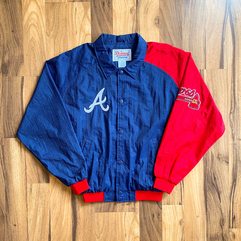 VINTAGE ATLANTA BRAVES MLB STARTER DIAMOND COLLECTION PATCH BOMBER JACKET