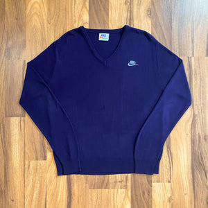 VINTAGE NIKE SPORTSWEAR 80'S EMBROIDERED V-NECK KNIT SWEATER
