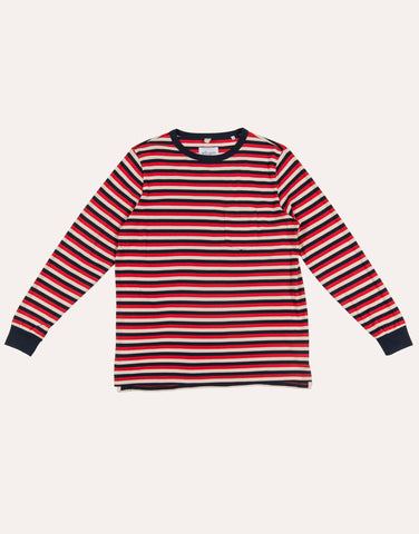Albam LS Classic Stripe Tee - Red & Navy