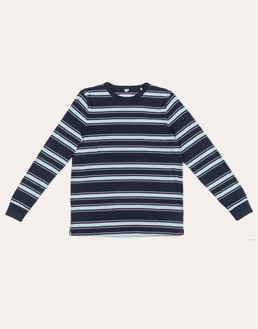 Albam LS Heritage Stripe Tee - Navy & Light Blue