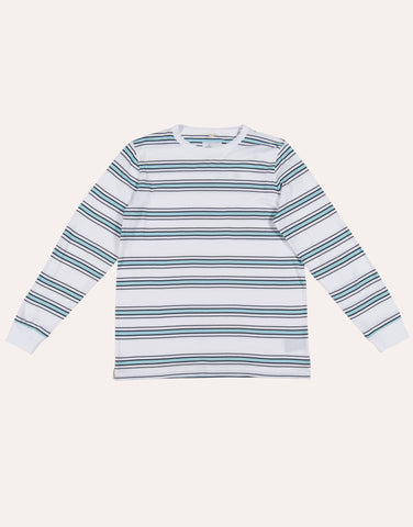 Albam LS Heritage Stripe Tee - White & Light Blue