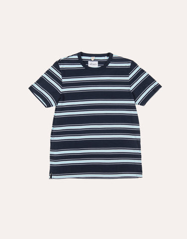 Albam SS Heritage Stripe Tee - Navy & Light Blue