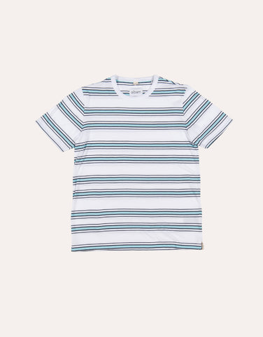 Albam SS Heritage Stripe Tee - White & Light Blue
