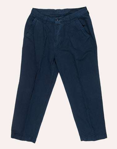 Albam Linen Blend Pleated Trouser - Navy