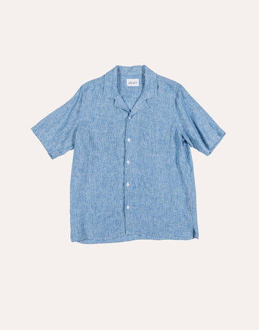Albam SS Revere Collar Shirt - Linen - Light Blue