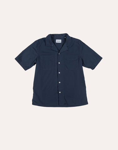 Albam SS Revere Collar Shirt - Cotton - Navy