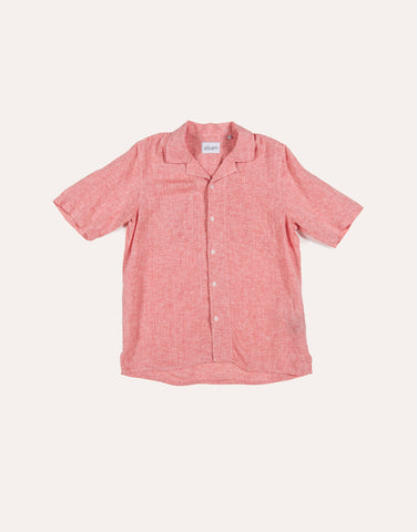 Albam SS Revere Collar Shirt - Linen - Red