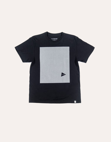 and Wander Printed Reflective T - Black