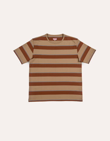 Arpenteur Match Stripe T-Shirt - Sand, Terracotta & Blue