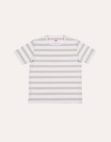 Arpenteur Match Stripe T-Shirt - White & Sand