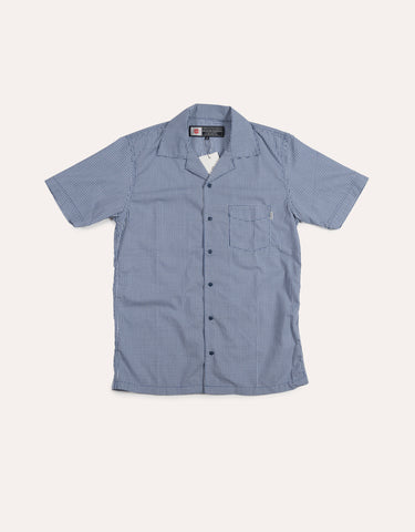 CHARI & CO Open Collar Check Shirt Navy