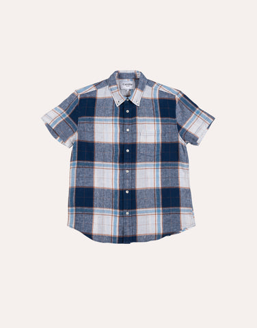 Corridor Big Tan Plaid SS Shirt - White