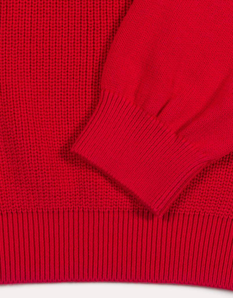 Fujito Crew Neck Rib Sweater - Red