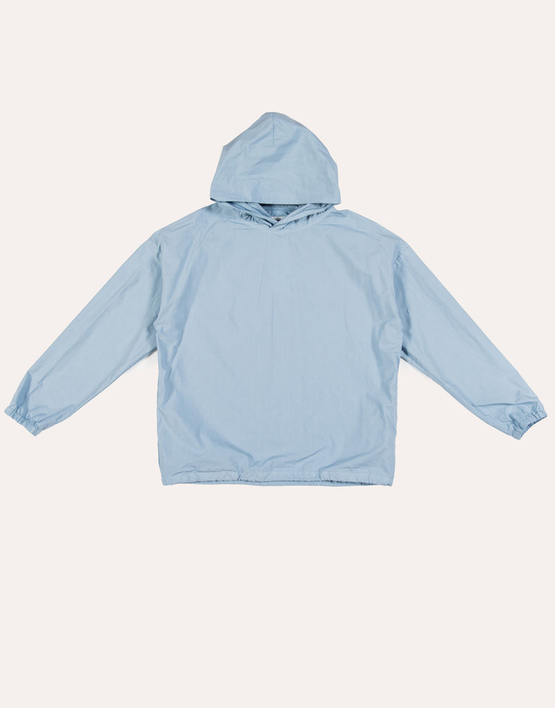 MANUAL ALPHABET O/D Typewriter Hooded Jacket - Blue Grey