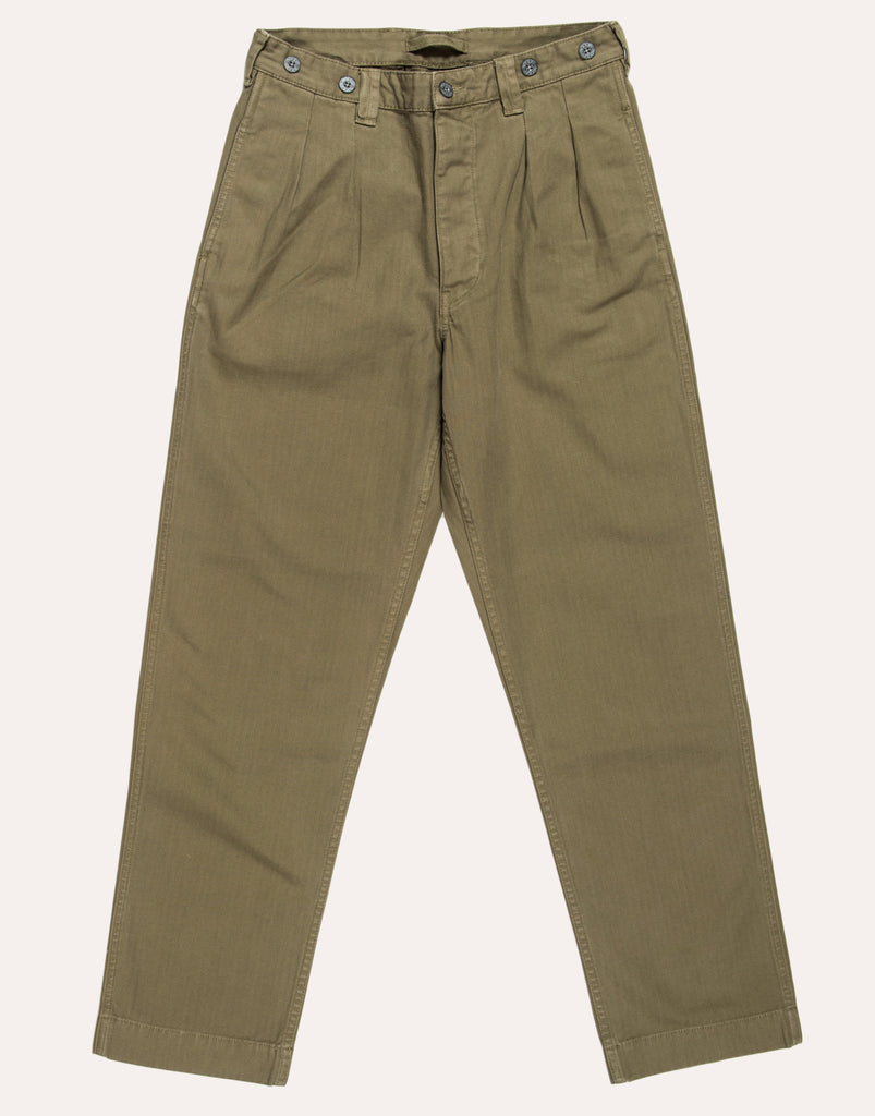 Nigel Cabourn P58 Dyed Pleated Chino - Army Green