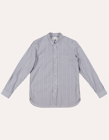Still by Hand Slimfit Button Down Shirt - Grey Stripe