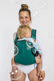 Frog Orange Explorer baby Carrier - Deep Green - front view showing ergonomic sitting position