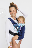 Frog Orange Explorer baby Carrier - Luxe Navy - side view showing safe and comfortable sitting position