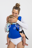 Frog Orange Explorer baby Carrier - Royal Blue - carrying baby comfortably and close to wearer