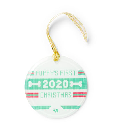 2020 'Puppy's First Christmas' Glass Ornament Ornament Printed Mint