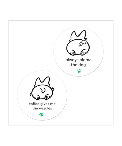 'Always Blame the Dog' & 'Coffee Gives Me the Wiggles' Sticker Set Stickers Printed Mint