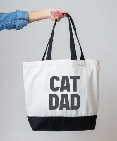 Bold 'Cat Dad' Tote Bag Tote Rover Store