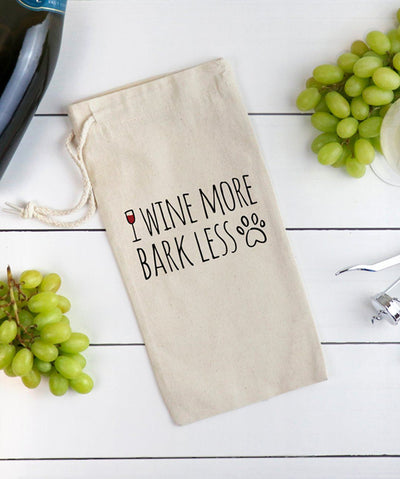 Canvas 'Wine More, Bark Less' Reusable Gift Bag Tote Printed Mint