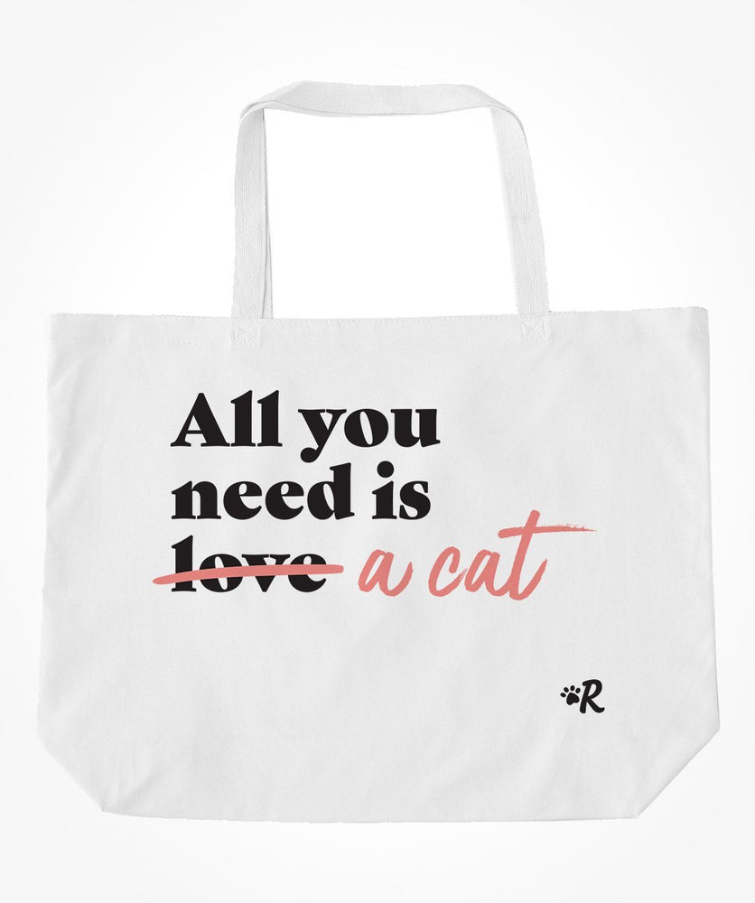 Cat 'All You Need' Tote Bag (2 colors)