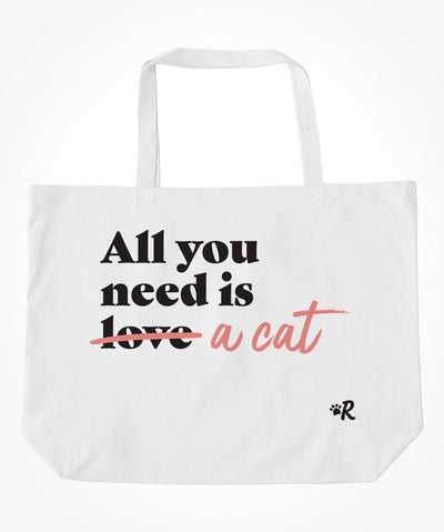 Cat 'All You Need' Tote Bag (2 colors) Tote Printed Mint Pink