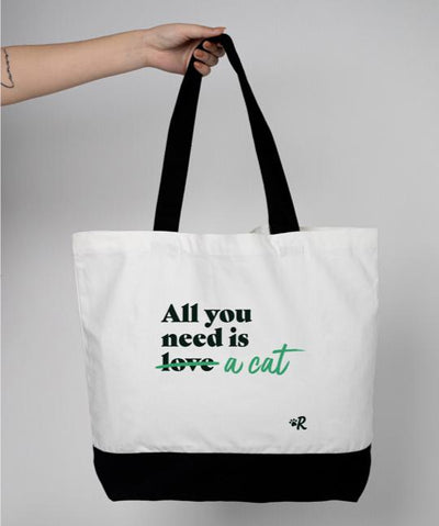Cat 'All You Need' Tote Bag Tote Rover Store Green