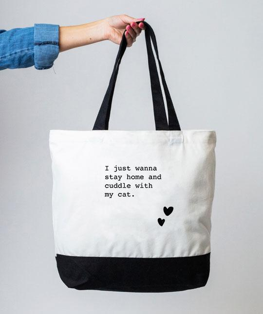 Cat 'I Just Wanna Stay Home' Tote Bag